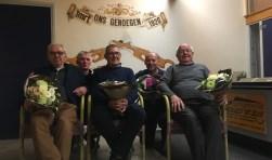 Jac v Loenhout, John Priem, Kees Goossens, Rene Vriends, Jan Boot. Onze jubilarissen.