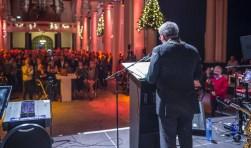 Aandacht voor de speech van burgemeester Jacques Niederers in de Sint Jan. FOTO PETER BRAAKMANN