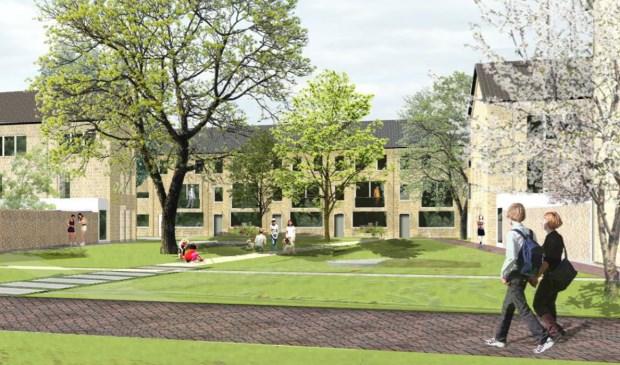 Een sfeerimpressie van hoe de nieuwe woningen eruit zouden kunnen gaan zien. Uiteindelijk maakt een ontwikkelaar een ontwerp. Foto: WonenBreburg © BredaVandaag