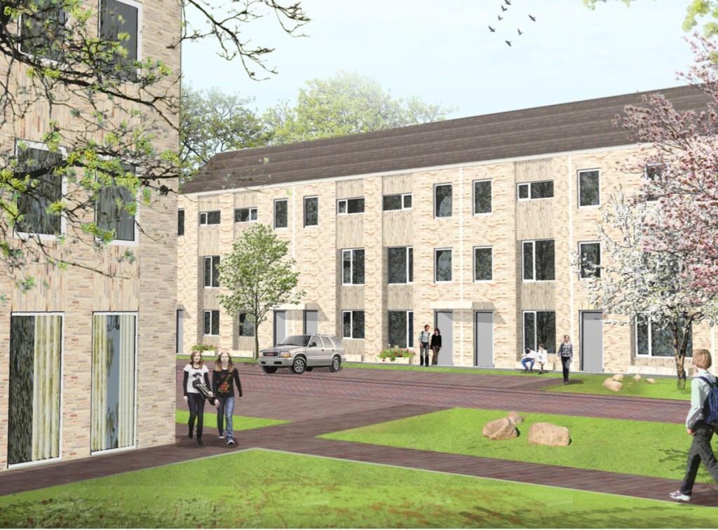 Een sfeerimpressie van hoe de nieuwe woningen eruit zouden kunnen gaan zien. Uiteindelijk maakt een ontwikkelaar een ontwerp.
