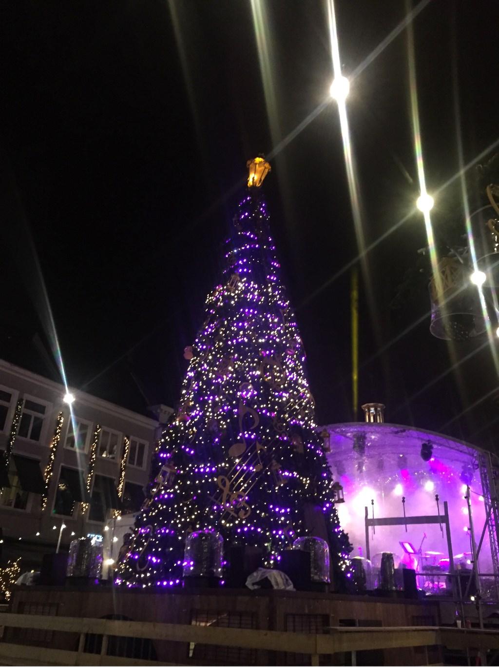 Kerstboom op de Grote Markt tijdens de openingsavond van Betoverend Breda. Foto: Wijnand Nijs © BredaVandaag