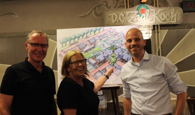 Wethouder Wilma Baartmans presenteert samen met architect Ernst Joosten en projectontwikkelaar Lars Paantjens de eerste plannen voor het Hof van Engelbrecht