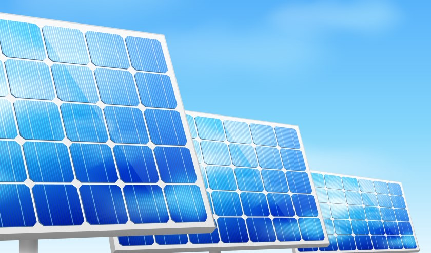 Eco energy concept solar panels in grass vector illustration