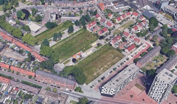 Het groene gebied is de plek waar de 78 woningen komen.