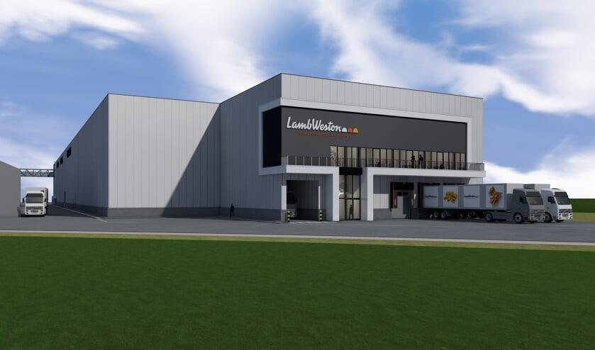 Een impressie van de nieuwe fabriek die Lamb Weston/Meijer bouwt in Kruiningen.