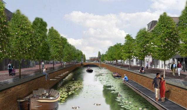Beeld van de toekomstige haven in Zevenbergen.