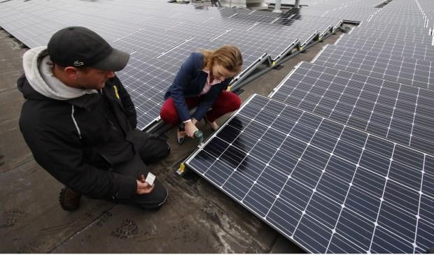 Plaatsing van het 3500e zonnepaneel op het dak van Breepark. Foto: Wijnand Nijs © BredaVandaag