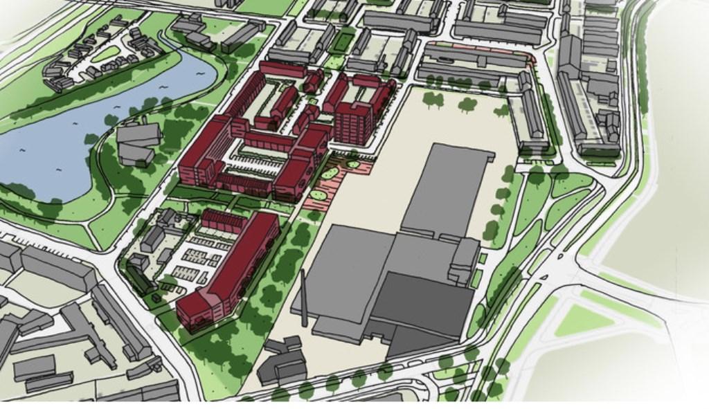 Het voorlopige ontwerp van het Eureka-woongebied. Het rode gedeelte is het nieuwe wijkje.