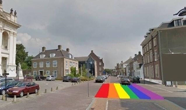 Pastoor Prasing pleitte voor een regenboogzebrapad tussen de basiliek en het Jezuïetenplein in Oudenbosch. FOTO COMITÉ CARNAVALSMIS BASILIEK