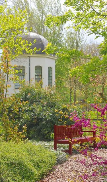 Bloeiend voorjaar in het Arboretum Oudenbosch met op de achtergrond de bekende theekoepel van de tuin. FOTO FRANK VAN ANDEL