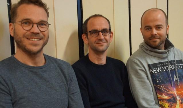 De hoofdrolspelers van de tragikomedie HOND: Jeroen Schrauwen, Joost Godschalk en Michael Graauwmans. FOTO RENÉ BRUIJNINCX