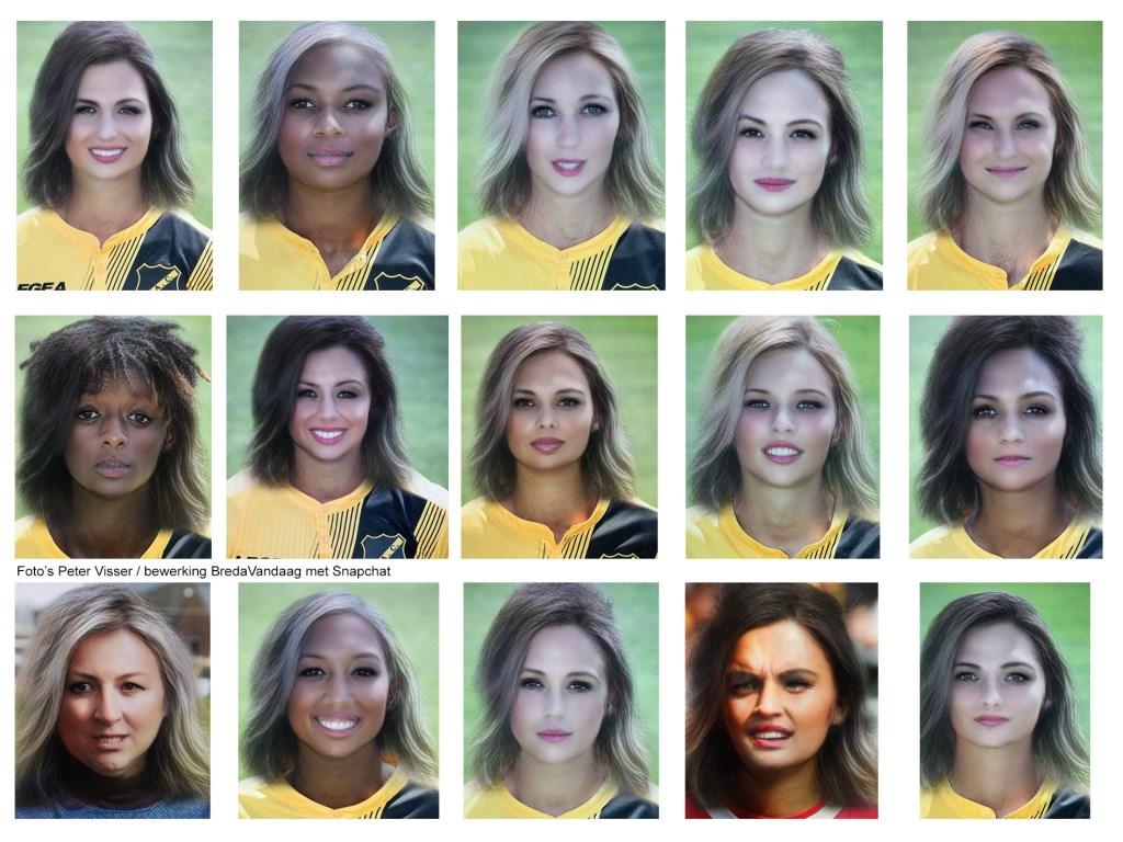 NAC-elftal 2018-2019 als vrouw, met behulp van Snapchat.