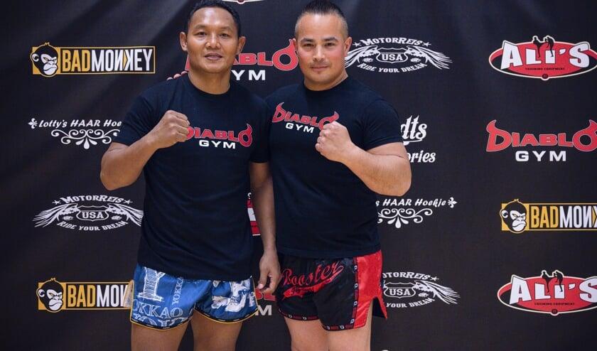 Links Saenchai en rechts Travis Schlee van Diablo Gym