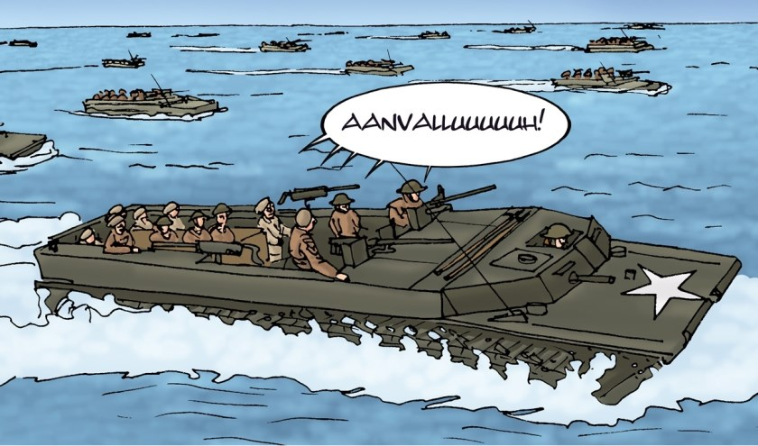 Een van de tekeningen in het stripboek over de Slag om de Schelde. FOTO ARTHUR SCHEIJDE