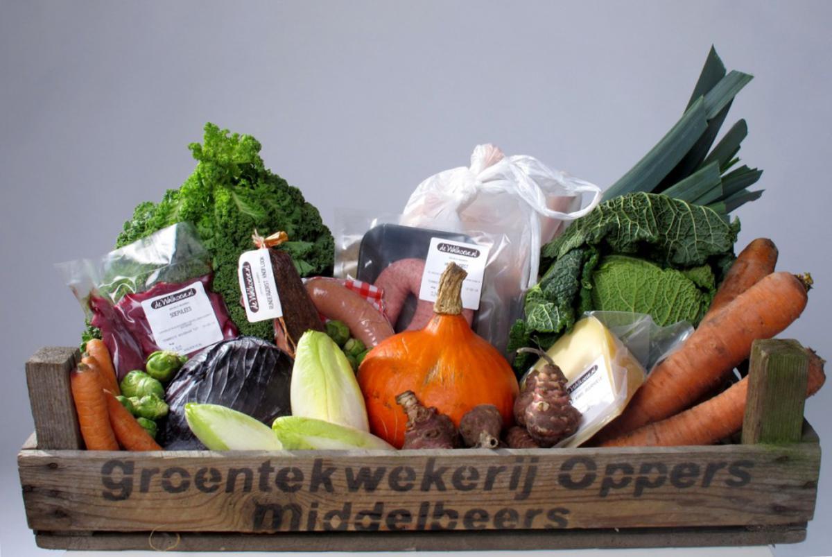 Een voorbeeld van een, in dit geval uitgebreid, pakket van Boerschappen. foto Saskia te Koppele