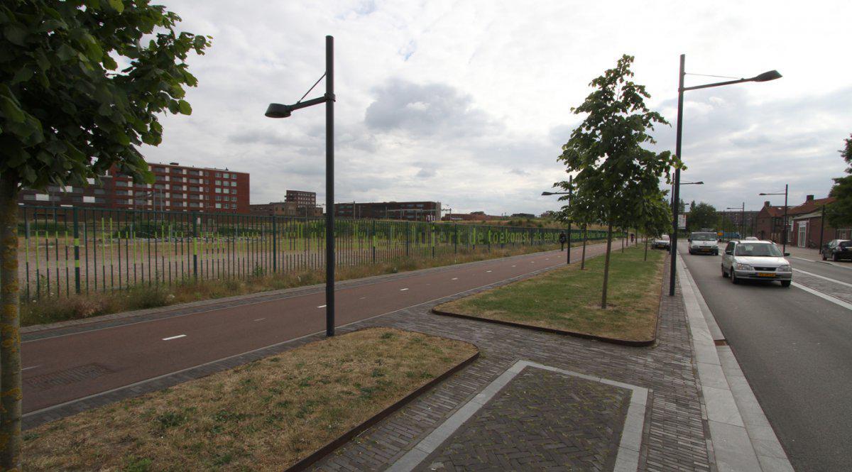 Hekwerk met gedicht Liniestraat.