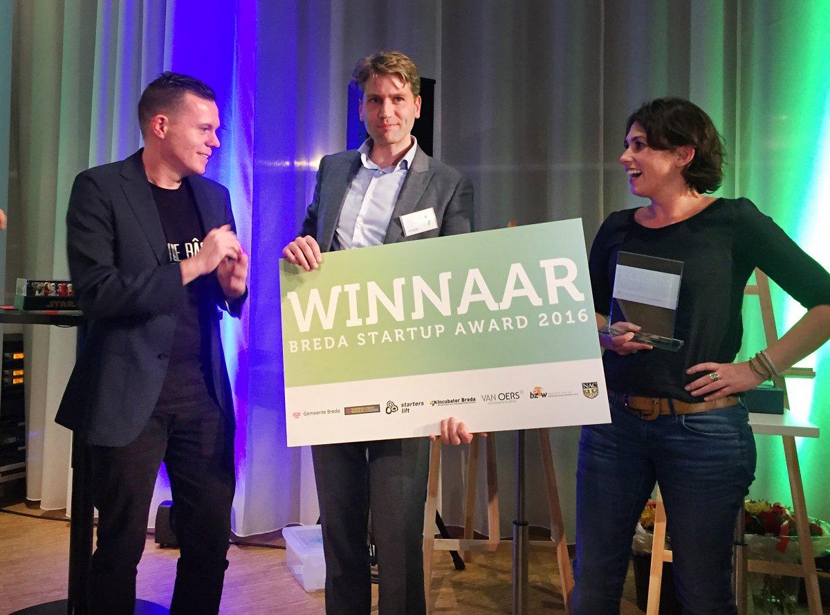 Roderick Rodenburg en Christel Marinus van Synple: winnaars van de Breda Startup Award.