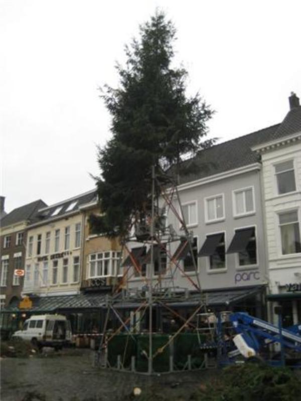 Het opzetten van de kerstboom op de Grote Markt