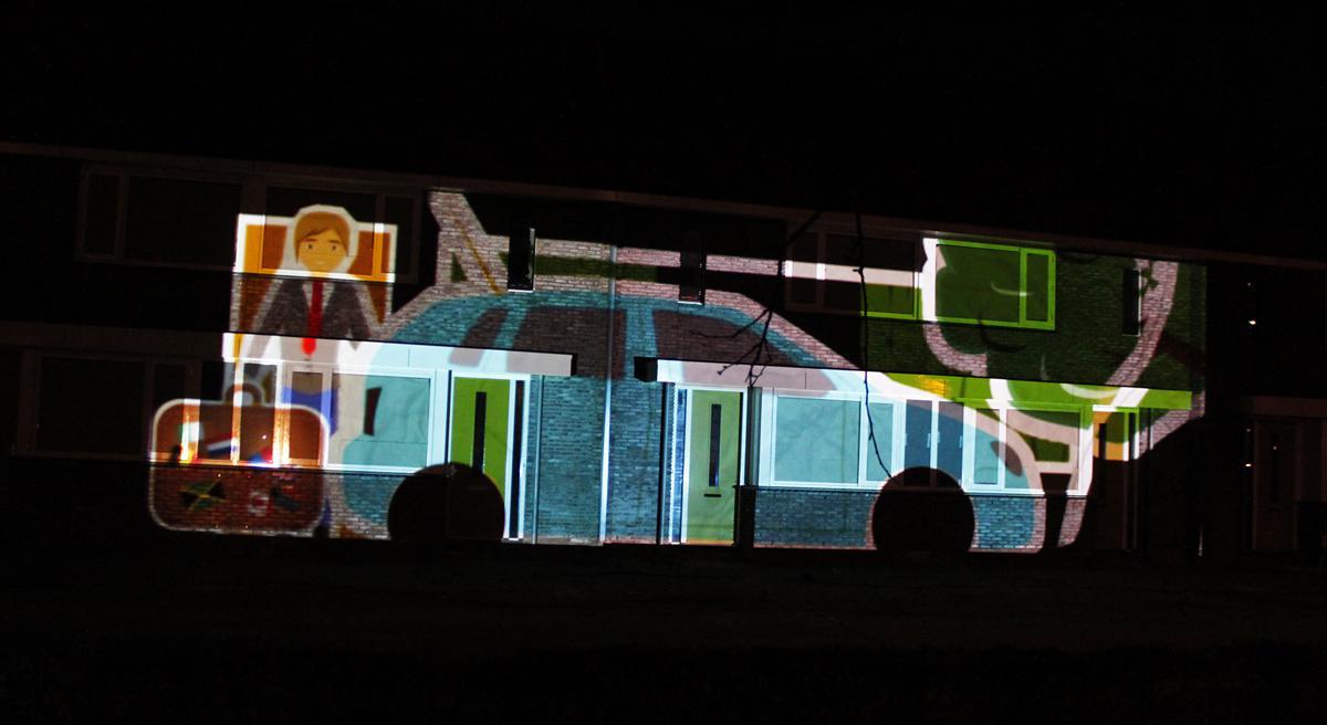 Licht- en videokunst bij de oplevering van Plan Aa in Hoge Vucht. foto Raymond Tillieu