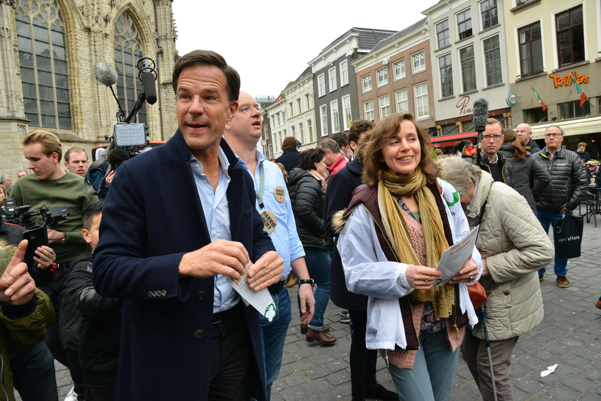 Mark Rutte bracht zaterdag 11 maart een camagnebezoek aan Breda. Daarbij ging het veel over het conflict met Turkije.