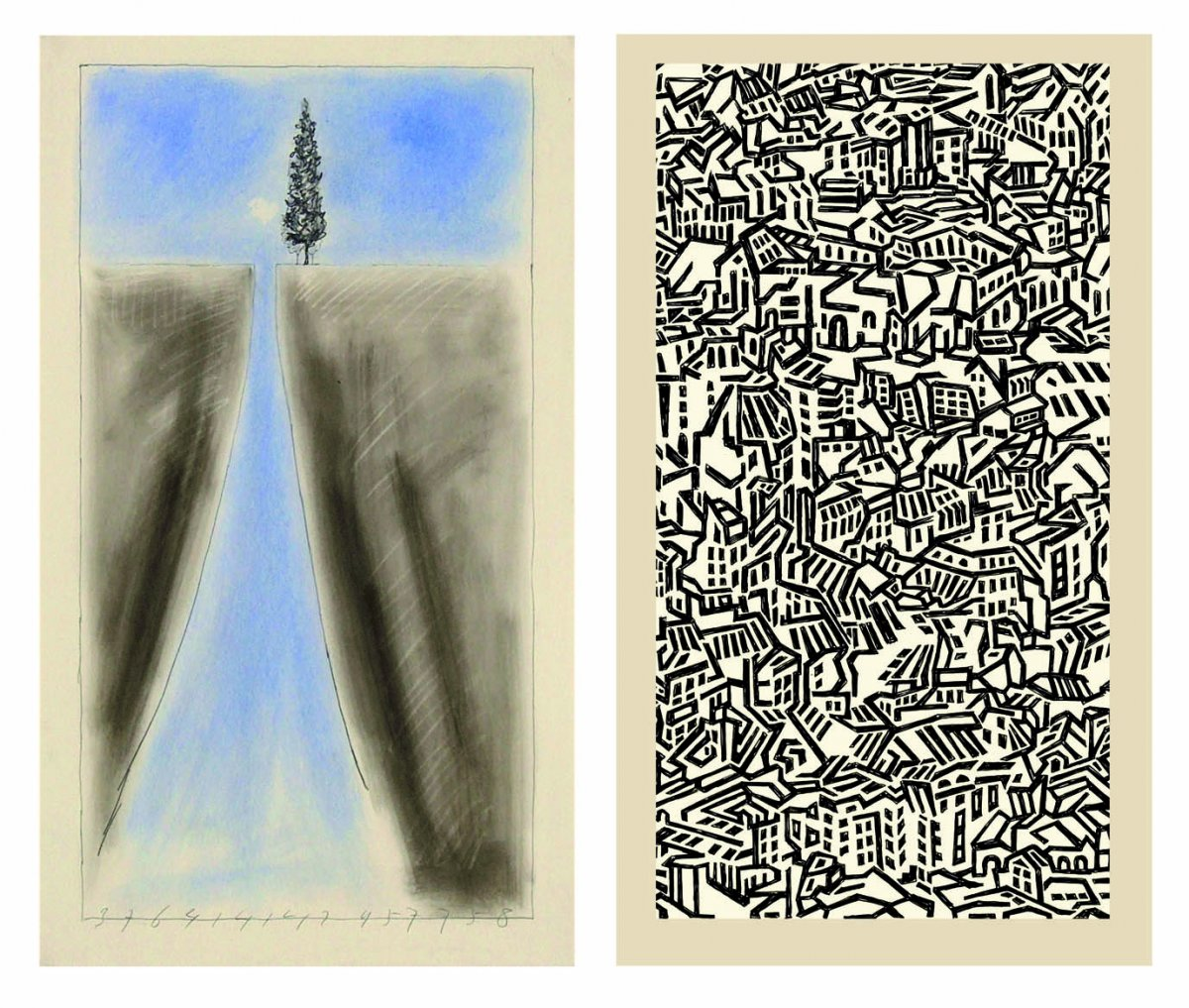 Links: sarabande, de weg tot vereniging (Jaap Mulder) en rechts a geometry echoes (Yvon Né).