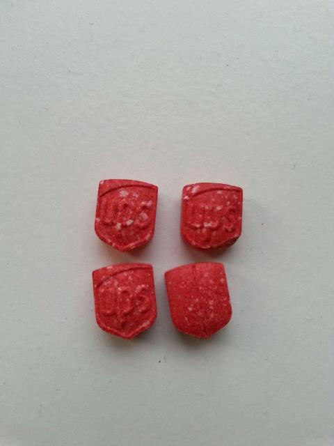XTC-pillen die in Breda zijn aangetroffen.