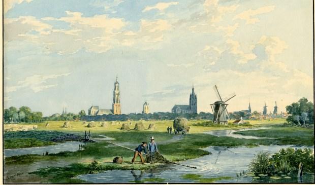 Delft gezien vanuit het noorden, circa 1830. (illustratie: Gemeentearchief Delft)
