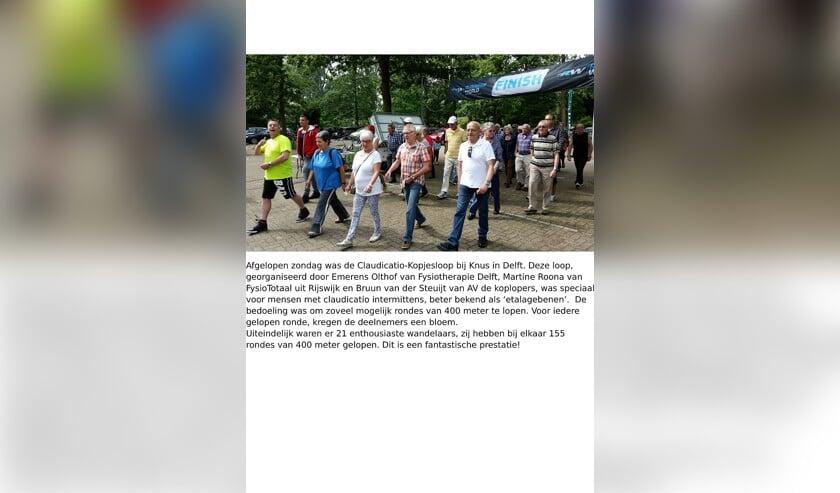 Vorig jaar liepen claudicatiopatiënten voor het eerst mee met de Claudicatio Kopjesloop.