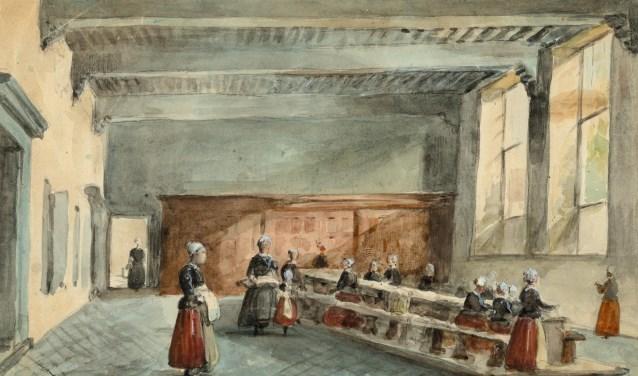 Carel Jacobus Behr, De linnenkamer van het Weeshuis aan de Oude Delft, ca. 1879