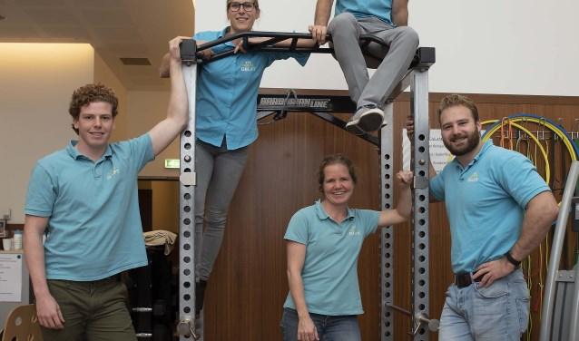 Het SENSUS-team Fys'Optima Delft: Ferry, Rutger, Eric, Donna en Marguerite