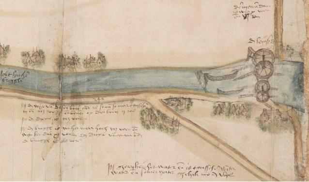 De windassen van de Leidschendam op een kaart van Coenraet Oelenz, 1555 (TMS 119502)