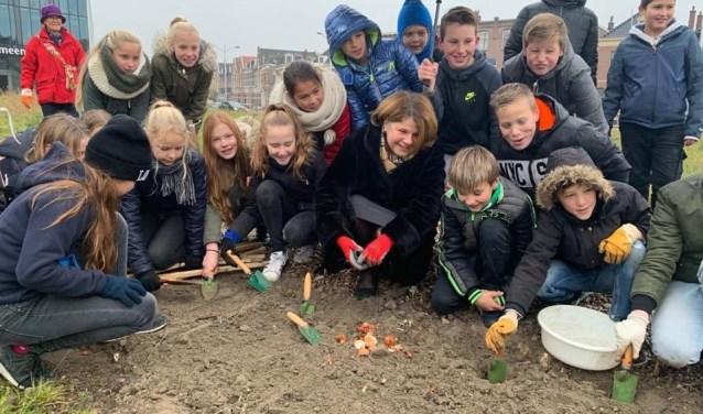 Tulpenbollen planten met kinderen van de Max Havelaar