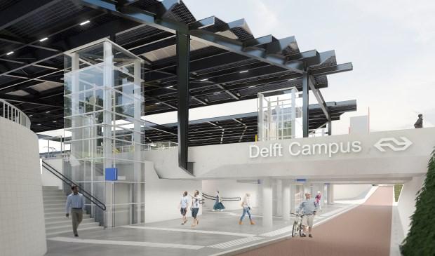 Zo gaat Station Delft Campus er van 2023 uit zien.