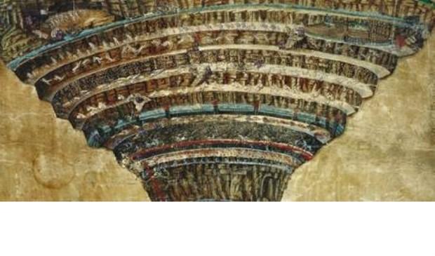 Eén van de 102 nauwgezette tekeningen van Botticelli waarmee hij Dantes beschrijvingen tot leven heeft gebracht.