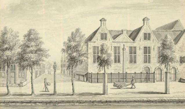 De lutherse kerk aan de Verwersdijk, hoek Van der Mastenstraat, 18 e eeuw (TMS 5689)