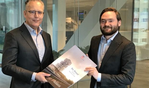 Edwin Kolkhuis Tanke van Novaforum Vastgoedontwikkelaars en wethouder Bas Vollebregt (r.)