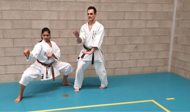 Priya Sardjoe Missier met haar Sensei Gonzalo Villarrubia aan het trainen voor het EK in Denemarken.