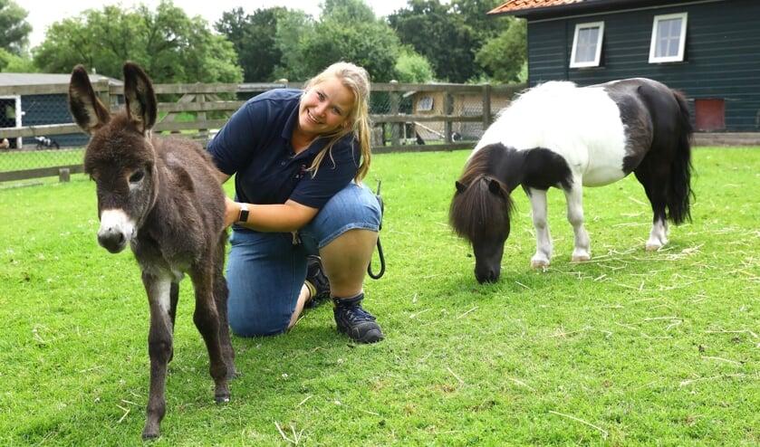 Beheerder Anje van de Kinderboerderij Tanthof met een pasgeboren ezeltje
