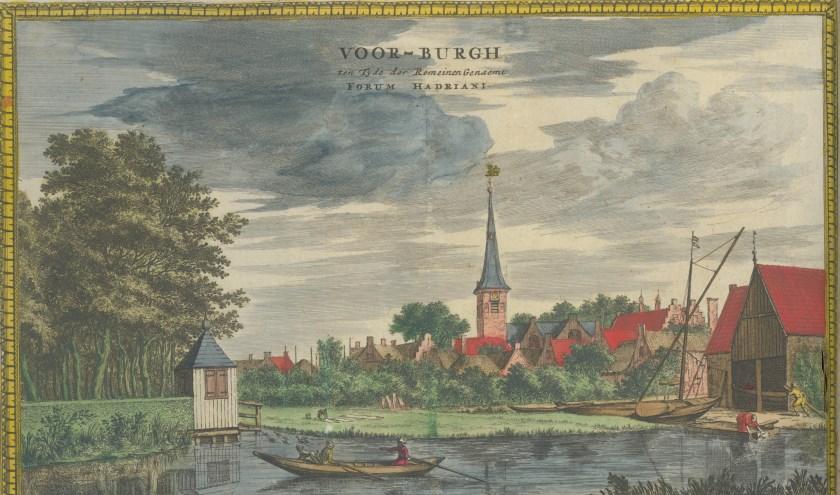 Gezicht op Voorburg, ingekleurde gravure van Coenraet Decker, c. 1675. (TMS 71642)