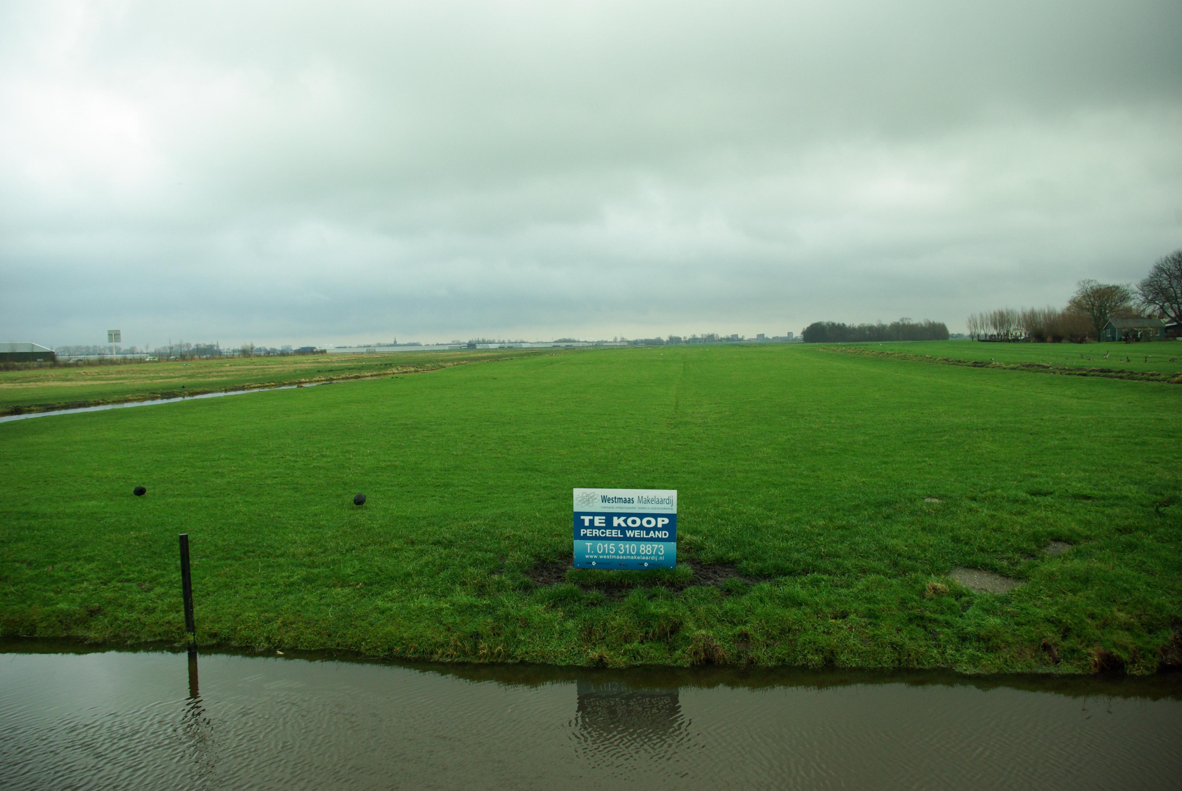 Delft op zondag een weiland dat in de verkoop staat is for Weiland te huur