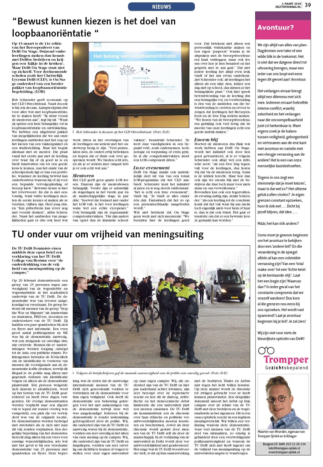 Delft Op Zondag Tu Onder Vuur Om Vrijheid Van Meningsuiting