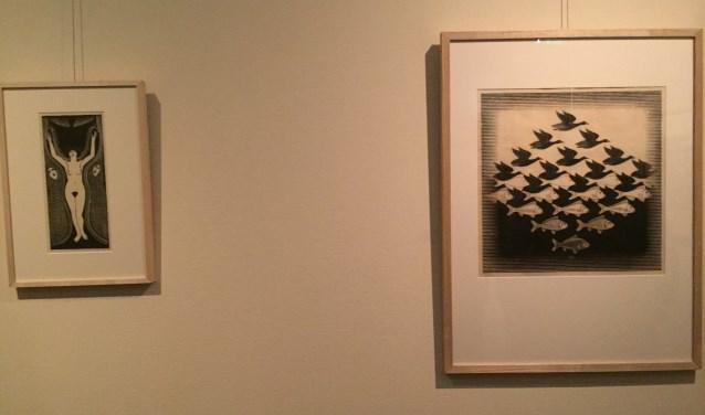 Werken van De Mesquita en Escher gebroederlijk naast elkaar op Soestdijk.