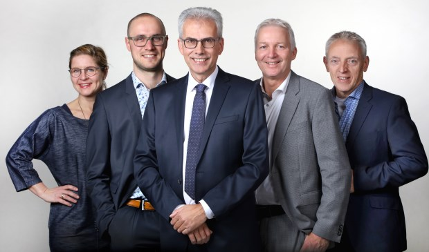 Karin  Pen -van Leeuwe, Kees Arts, Gerard Worm, Ton Wijnen en Michel Lepoutre