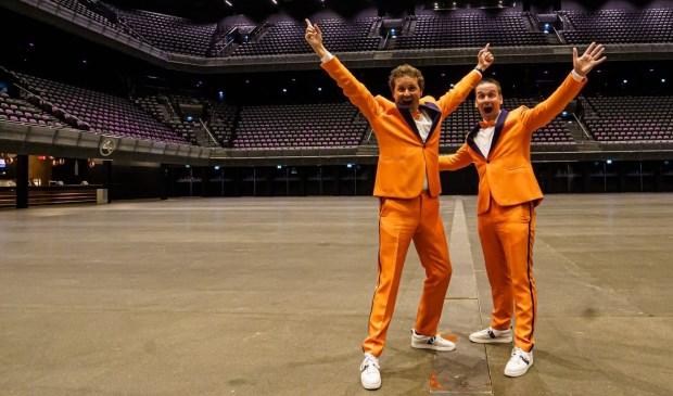 Stan van den Dobbelsteen (links) en Frank de Bruijn (rechts) in een nu nog lege Ziggo Dome.