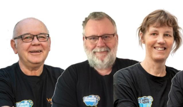V.l.n.r.: Antoon Sloots, Frans Stravers, Margot Klaren (drie van de zeven bestuursleden)  | Fotonummer: cdd977