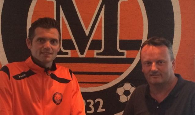 De nieuwe hoofdtrainer Richard van de Kerkhof (l) en voorzitter Huub van der Linden (r)