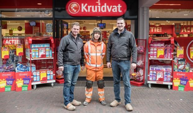Van links naar rechts: Gerben Mauritz, Robin van de Pol en Roelof Rijksen voor de Kruidvat op de Bellestein.
