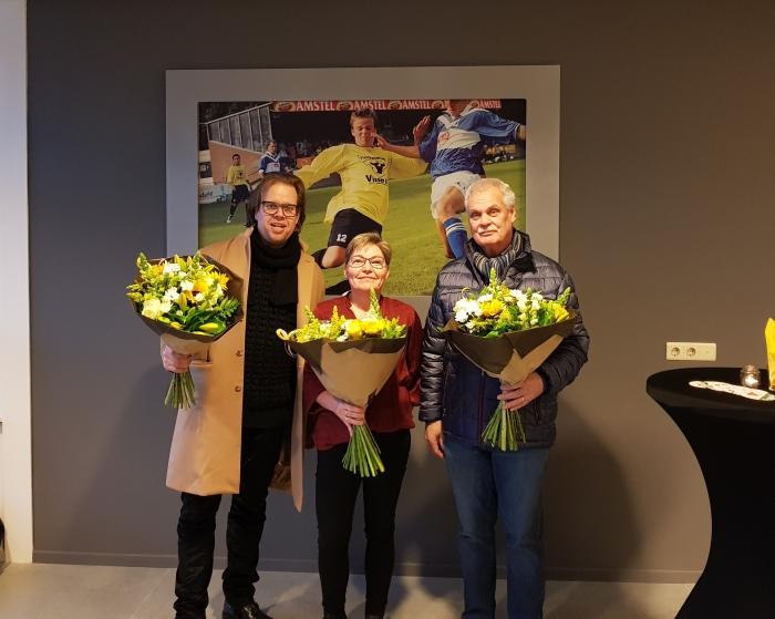 Wethouder Peter de Pater, Betsie Bettink en Jan Randewijk