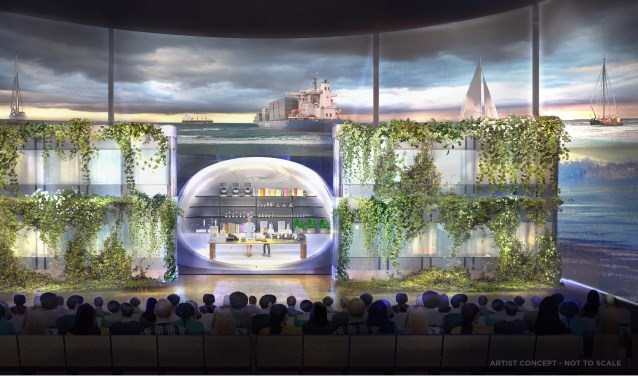Een artistieke impressie van een theater met liveshows en 3D-projecties in de World Food Center Experience.