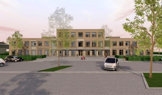 Een artist impression van het bredeschoolgebouw. De Keizerschool heeft er al zijn intrek genomen en wordt woensdag geopend.